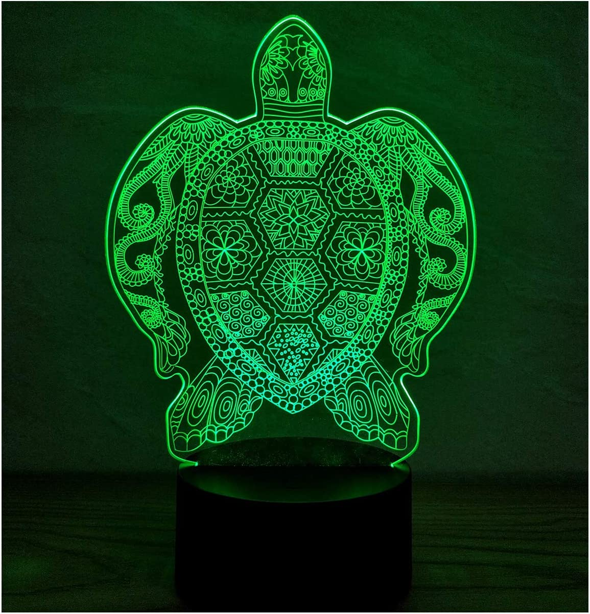 3D Illusion Platform Night Lights Touch Control 7 Color Change USB Power LED Desk Lamp for Home Decorations or Holiday Gifts (Turtle)