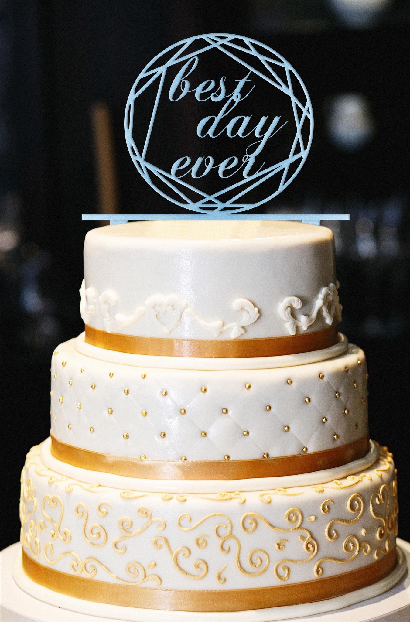 Best Day Ever Wedding Cake Topper, Wedding Cake Topper, Engagement Cake Topper, Gold Cake Topper, Gold Glitter Cake Topper, Anniversary (13'', Pearl Light Blue)