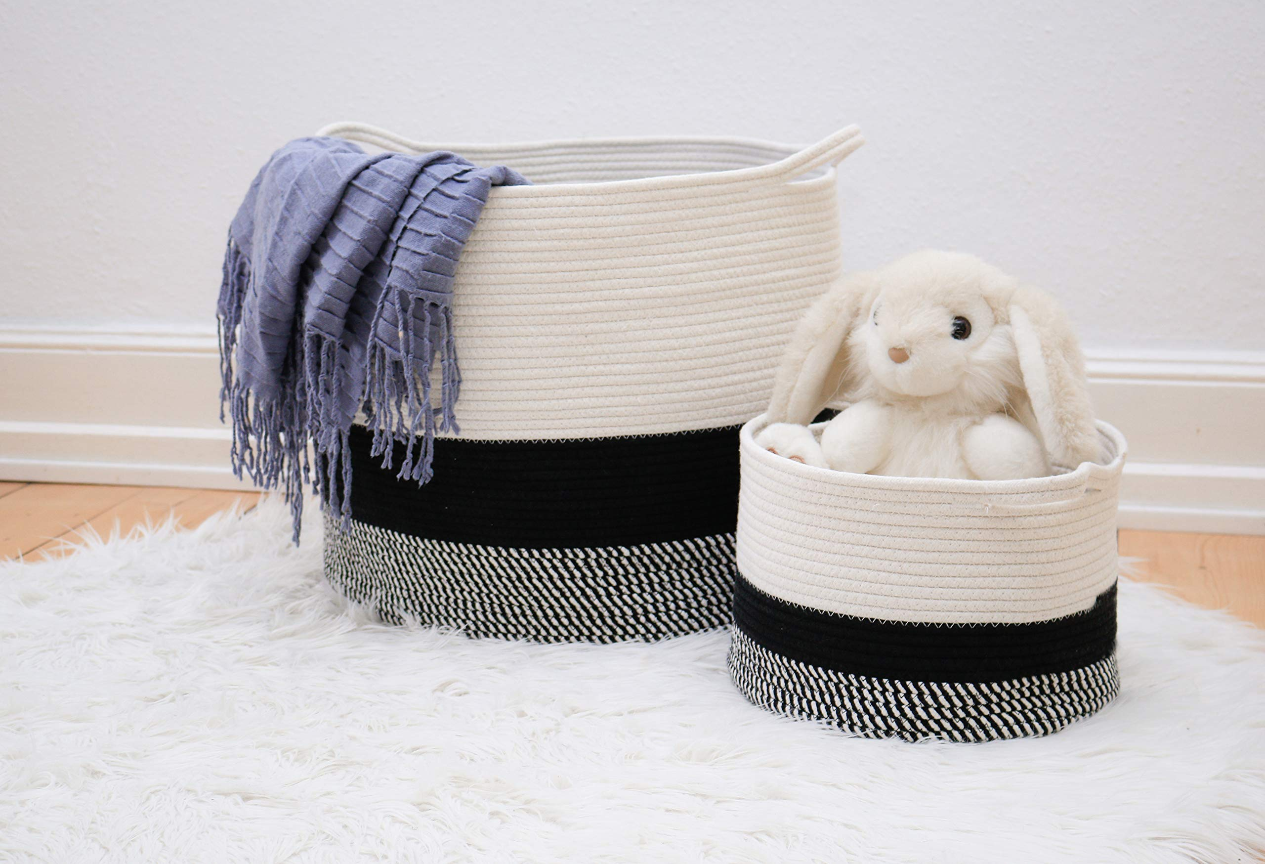 HomeSMTH Cotton Rope Storage Basket, 2 Piece Set, Large Size 20''X16'', Small Size 12''x8'', for Baby Laundry Hamper, Woven Nursery Baskets, Decorative Room Baskets