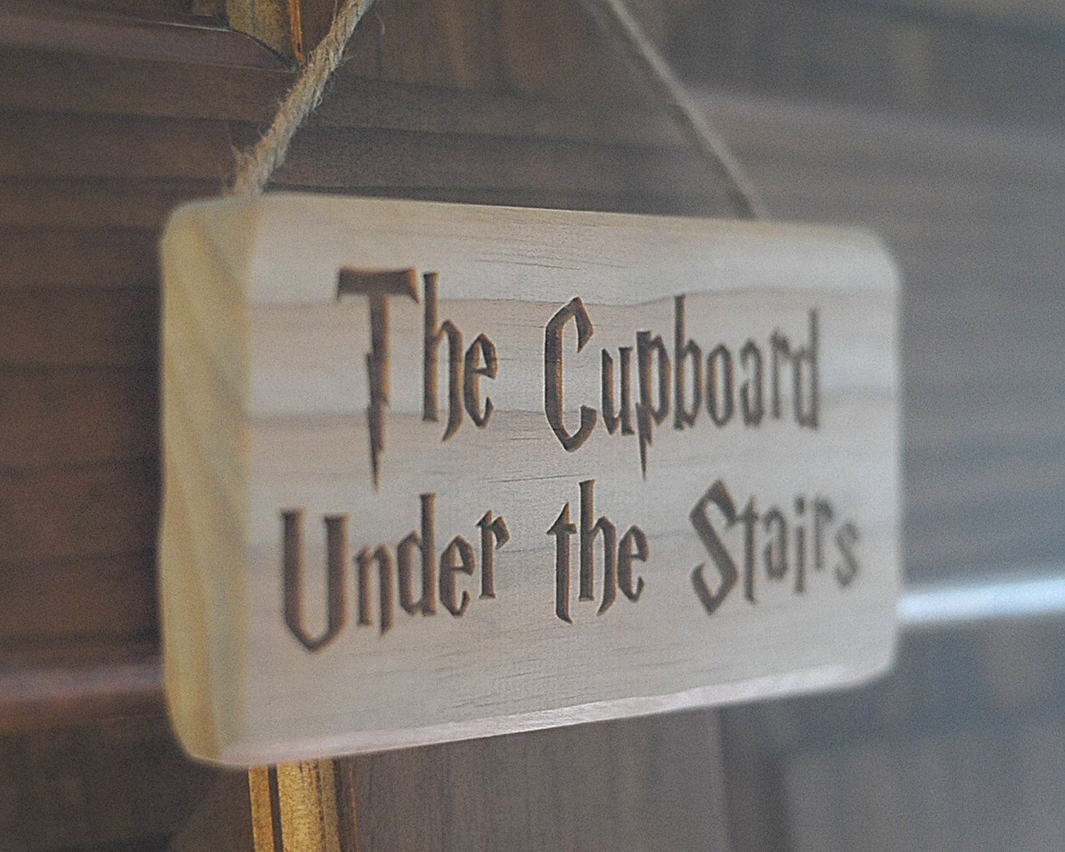 Distraction The Cupboard Under the Stairs. Harry Potter Inspired Plaque/Sign Solid Wood Engraved - Strap