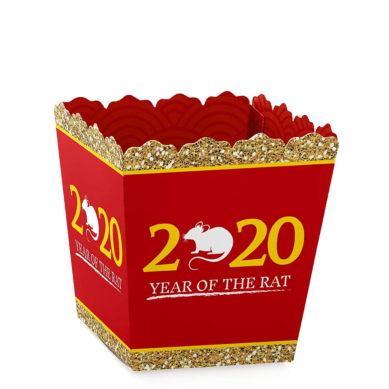 Set of 12 2020 Year of the Rat Treat Candy Boxes Party Mini Favor Boxes Big Dot of Happiness Chinese New Year