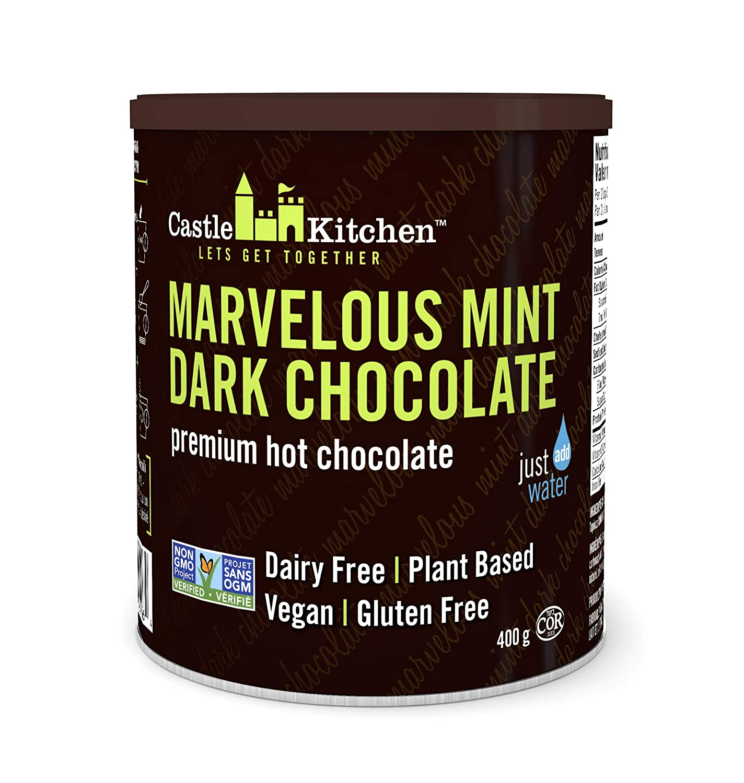 Castle Kitchen Marvelous Mint Dark Chocolate - Dairy-Free, Vegan Premium Hot Chocolate Mix - Just Add Water - 14 oz