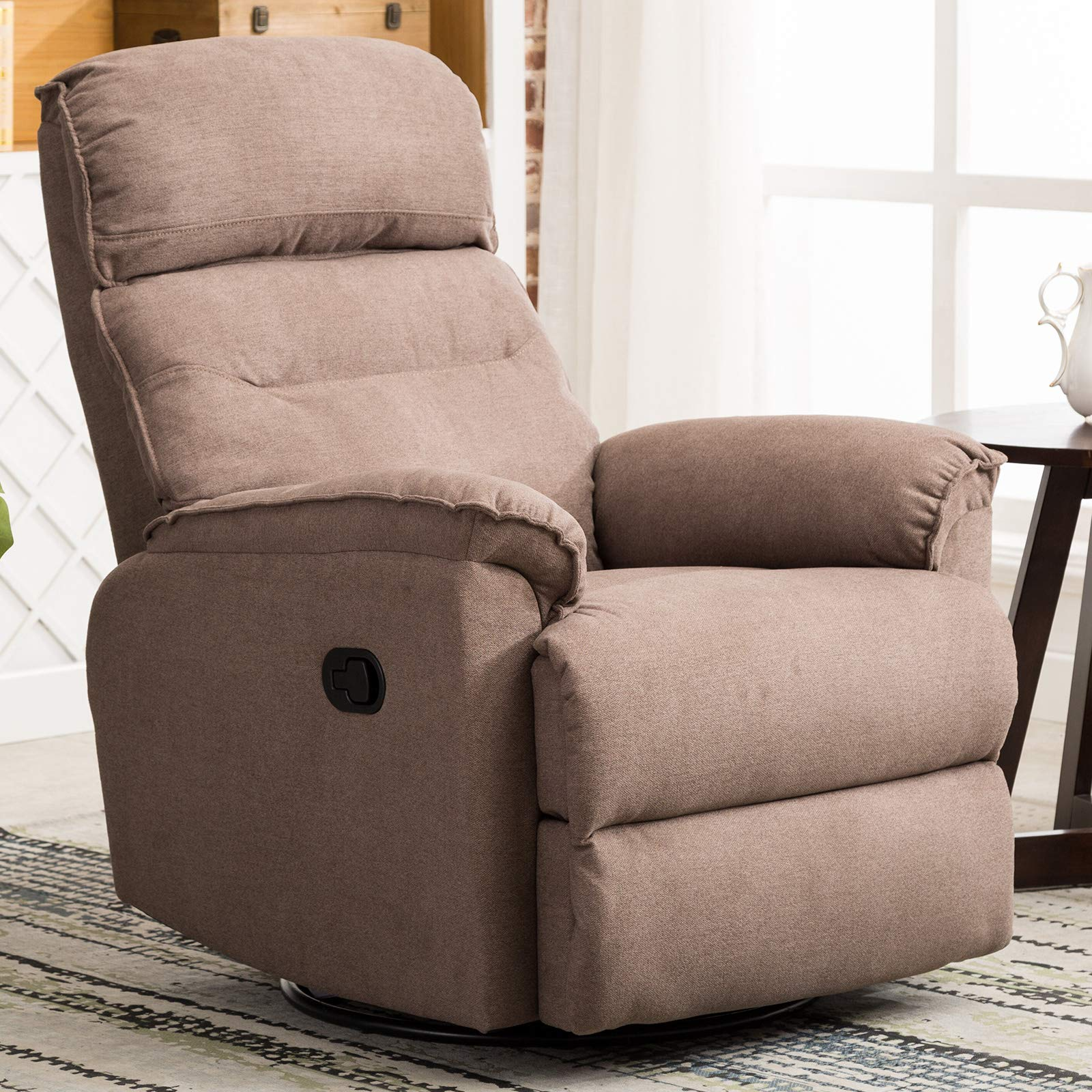 ANJ Swivel Rocker Recliner Chair - Single Modern Sofa Home Theater Seating, Manual Reclining Chair for Living Room, Smoke Gray by ANJ