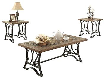 Amazoncom ACME Kiele Oak and Antique Black Coffee End Table Set