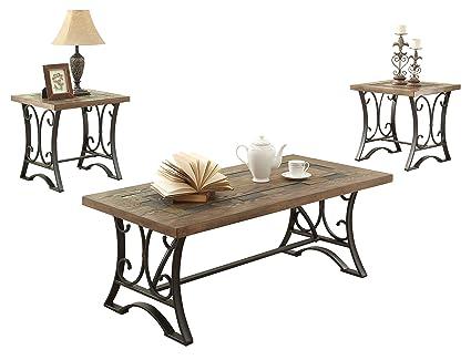 ACME Kiele Oak And Antique Black Coffee End Table Set 3 Piece