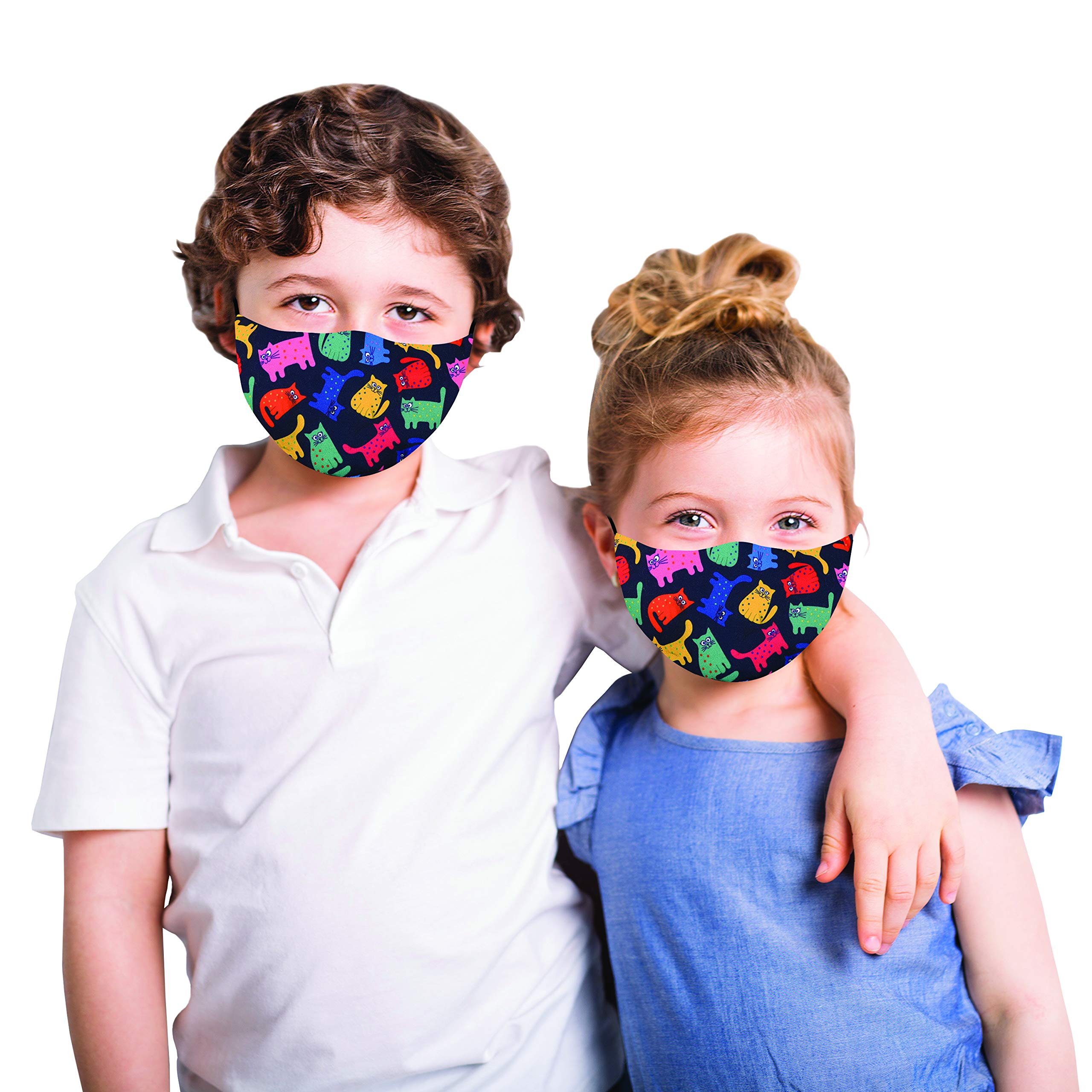 Snoozies Kids Face Mask - 1 Cloth Face Mask for Kids with Filter Pocket + 4 Filters - Washable Reusable Face Mask - Ages 5-10 (ML) - Cats