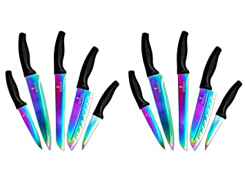 SiliSlick Kitchen Knife Set (Cuchillos De Cocina) - 5 Colorful Rainbow Titanium Coated Knives - Chef Knife Quality - Perfect Boning, Paring, Bread, ...