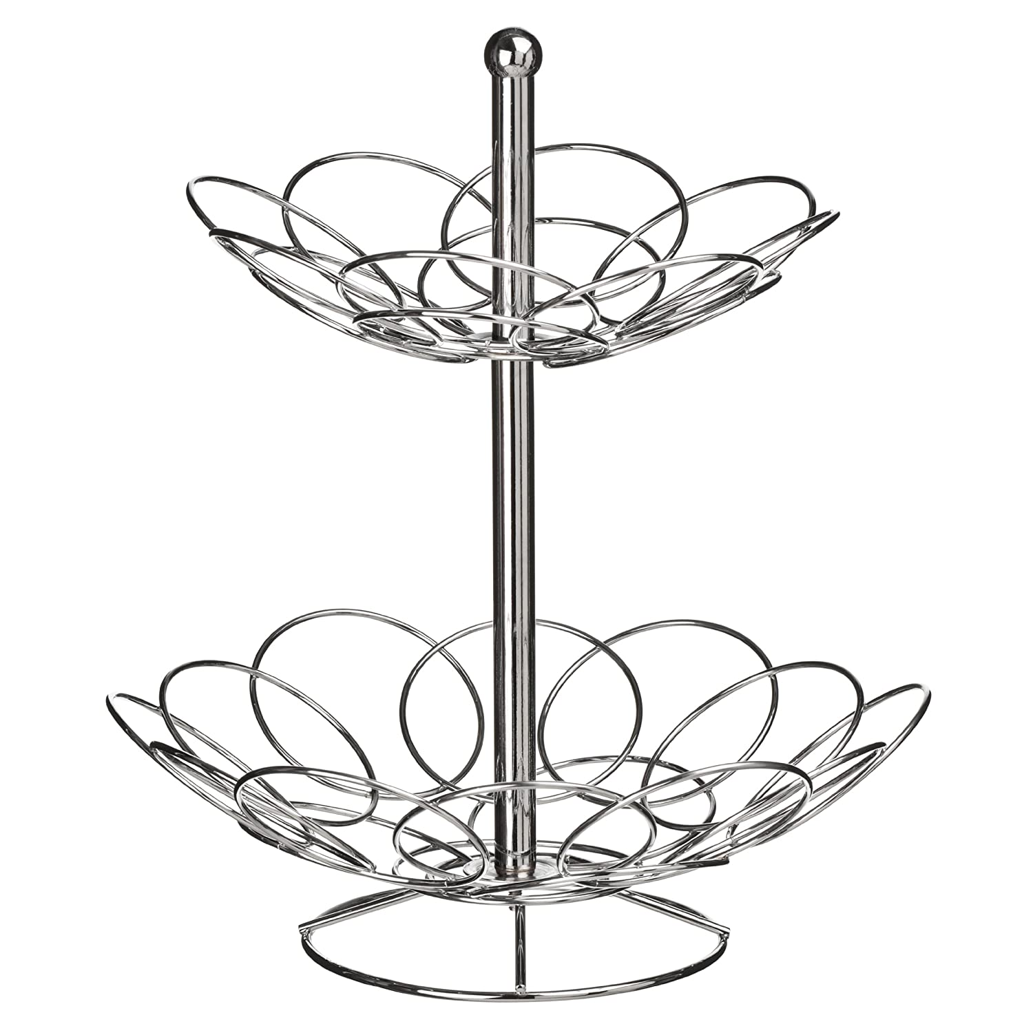 Premier Housewares Ellipse 2-Tier Fruit Basket - Chrome KitchenCenter 0509790 0509790_Silver