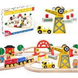 60 Pcs Crane Train Set-Wooden Tracks & Exclusive Crane & Trains- Fits Thomas, Chuggington, Melissa- Gift Packed Toy…