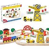 Crane Train Set- Wooden Tracks & Exclusive Crane & Trains-60 Piece Fits Thomas, Brio, Chuggington, Melissa- Gift Packed Toy R