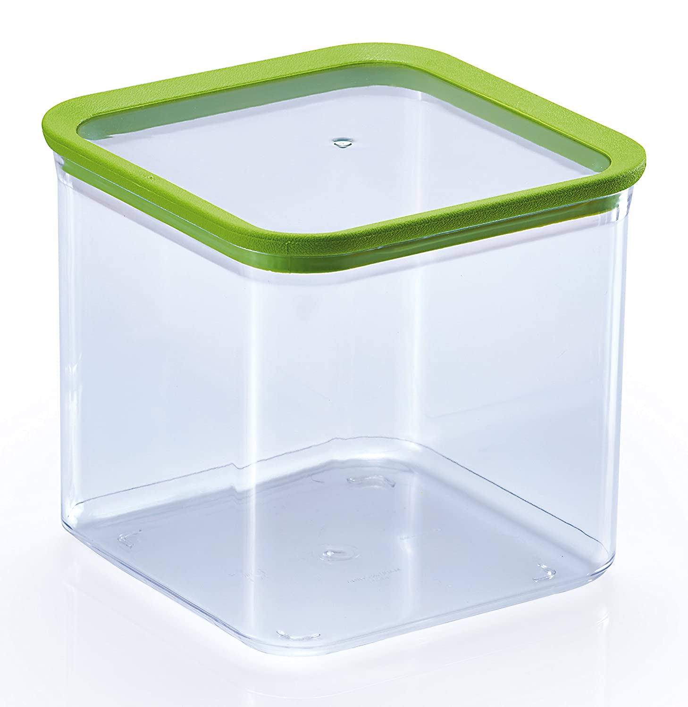 M-Home Bote Cuadrado Alimentos Secos 2.65 l, Plástico, Transparente, 16x16x15 cm Lisi PLS2587
