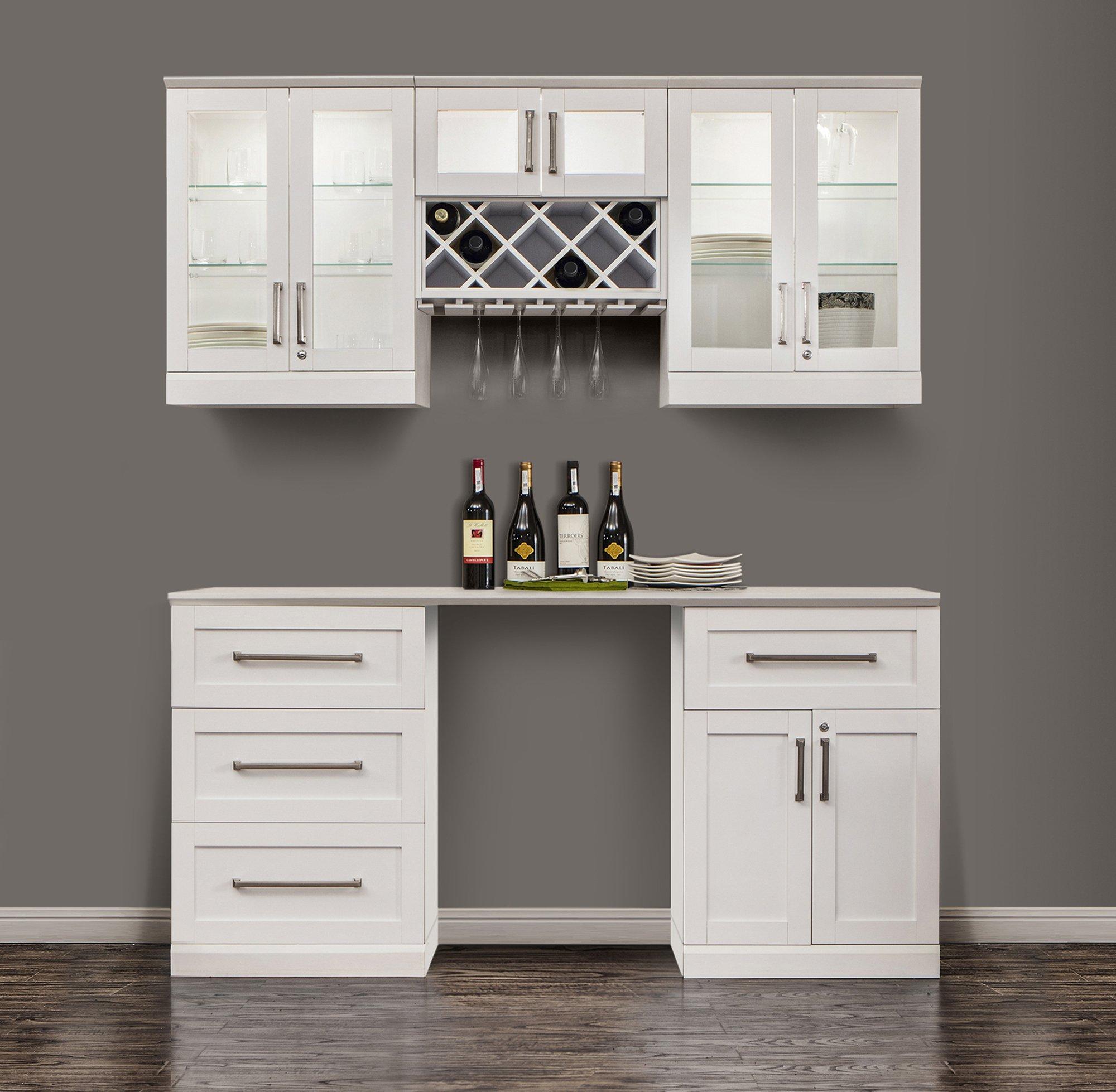 NewAge Home Bar 6 Piece 72'' x 25'' Modular Cabinet Set in White