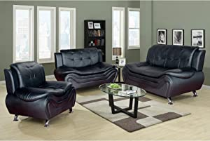 AYCP FURNITURE Comfortable Sofa/loveseat/Chair, 3 Piece Black Faux Leather Sofa Set