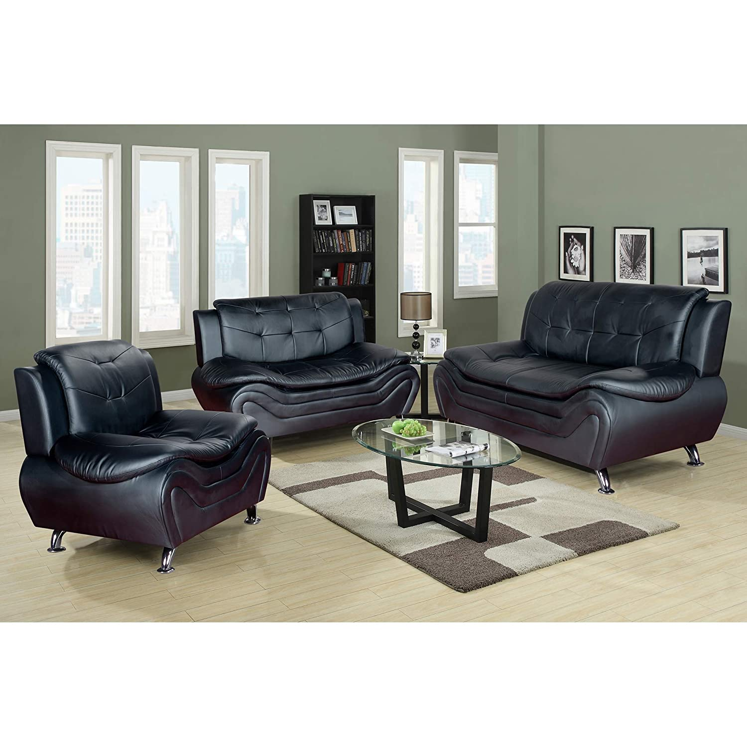 Really Feel Comfy With Black Living Room Furniture Amazon.com: AYCP FURNITURE Decorative Black Sofa Set, 3pcs Comfortable Faux  Leather Sofa-loveseat-Chair: Kitchen u0026 Dining