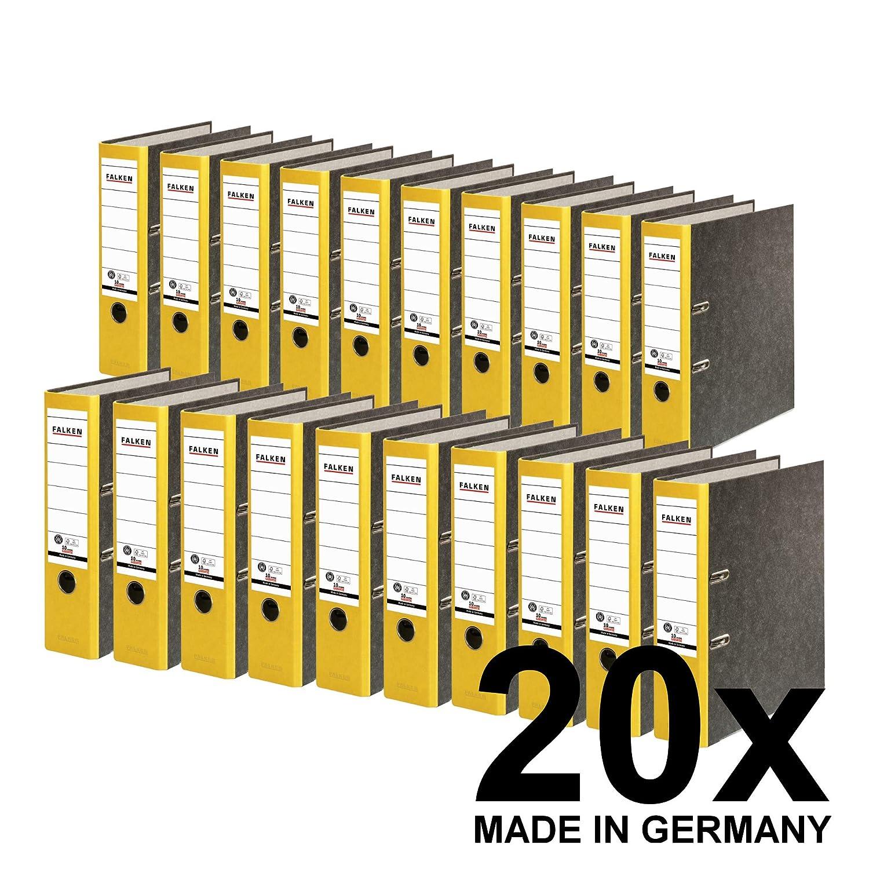 9 x Akten-Ordner PP A4 50 mm Gelb Kunststoff Archiv Büroordner Ringordner