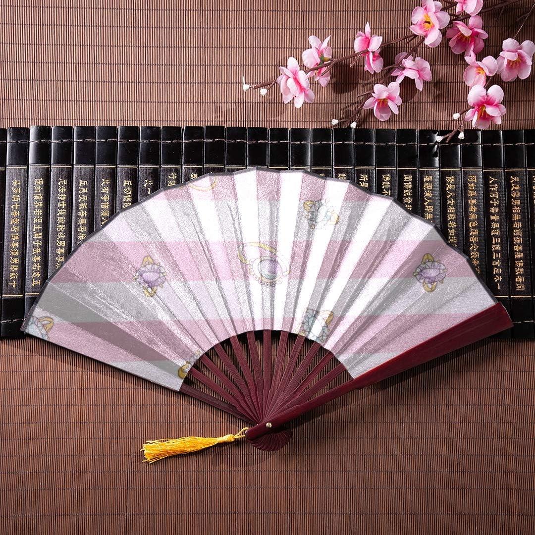 Aficionados japoneses Anillos de compromiso de diamantes dorados con marco de bambú Borla colgante y bolsa de tela Ventilador de mano Ventilador plegable de mano Ventilador plegado Ventilador de pare