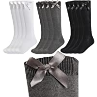 12 Pairs Kids Girls Plain Knee High School Cotton Rich Socks With Bow Ribbon
