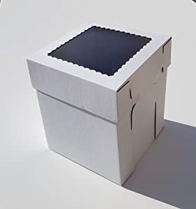 8x8x10 Tall Cake Box, Strong Extra Tall Corrugated Cake Box (2-Pack)