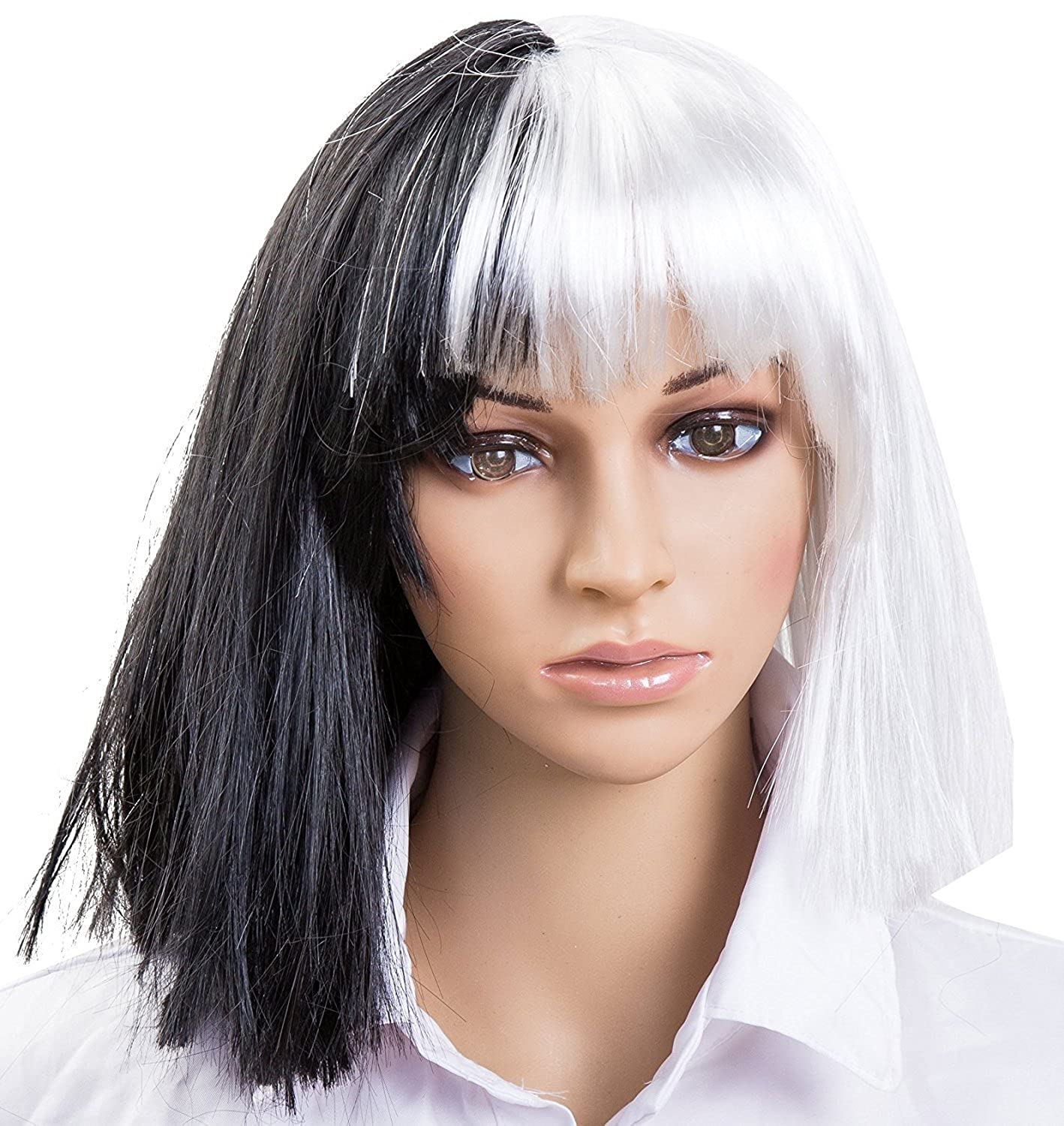 1 BFD Lafies Half Black And Half white Deluxe Evil Cruella Deville Mid Length Bob Wig, Ideal For Haloween Fancy Dress Wig, One Size Fits All.