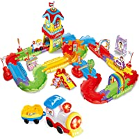 FUN LITTLE TOYS 189 PCs Train Sets with 3D Puzzles Includes Electric Toy Train, Train Tracks, 3D Train Station, Model Train Scenery, Christmas Train Set for Kids