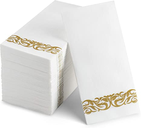 Amazon Com 100 Disposable Guest Towels Soft And Absorbent Linen Feel Paper Hand Towels Durable Decorative Bathroom Hand Napkins Good For Kitchen Parties Weddings Dinners Or Events White And Gold Cocktail Napkins