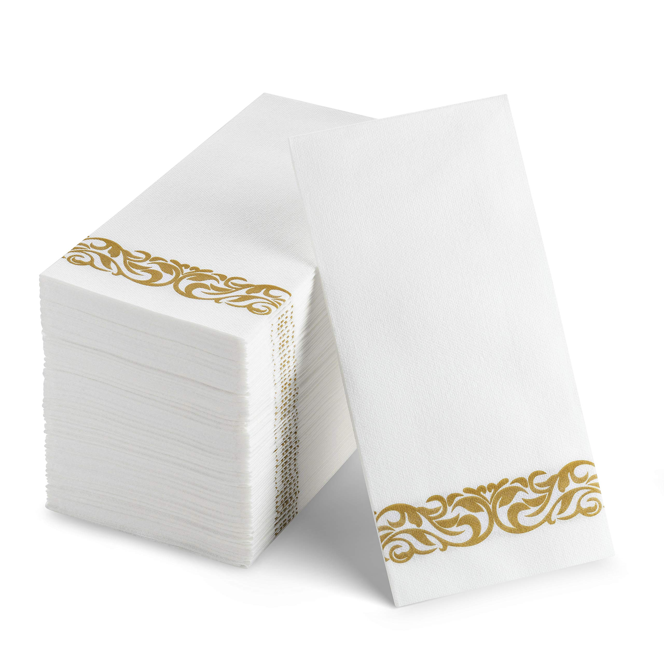100 Disposable Guest Towels Soft and Absorbent Linen-Feel Paper Hand Towels Durable Decorative Bathroom Hand Napkins Good for Kitchen, Parties, Weddings, Dinners or Events White and Gold