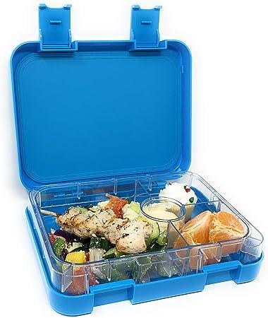 Caja de almuerzo para la preparación de comidas, estilo Bento Box, de 4 compartimentos, a prueba de fugas, para comidas y bocadillos, para niños, adolescentes y adultos - Frosted Blue: Amazon.es: Hogar
