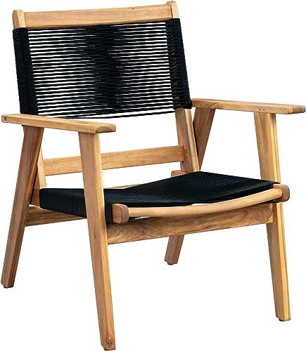 Patio Sense Kingsmen Armchair | Natural Finish | Midcentury Modern Wooden Sofa Chair