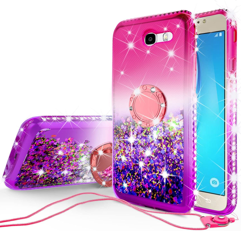 GW USA Glitter Cute Phone Case Kickstand for Galaxy J7 V/J7 (2017)/J7 Perx/J7 Sky Pro/Halo/J7 Prime Case, Bling Diamond Bumper Ring Stand Sparkly Clear Soft Protective Girls Women (Pink/Purple)