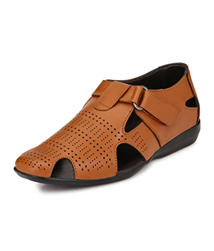 9255a401bf2a0 EL PASO Men s Faux Leather Tan Casual Sandal 40UK  Buy Online at Low ...