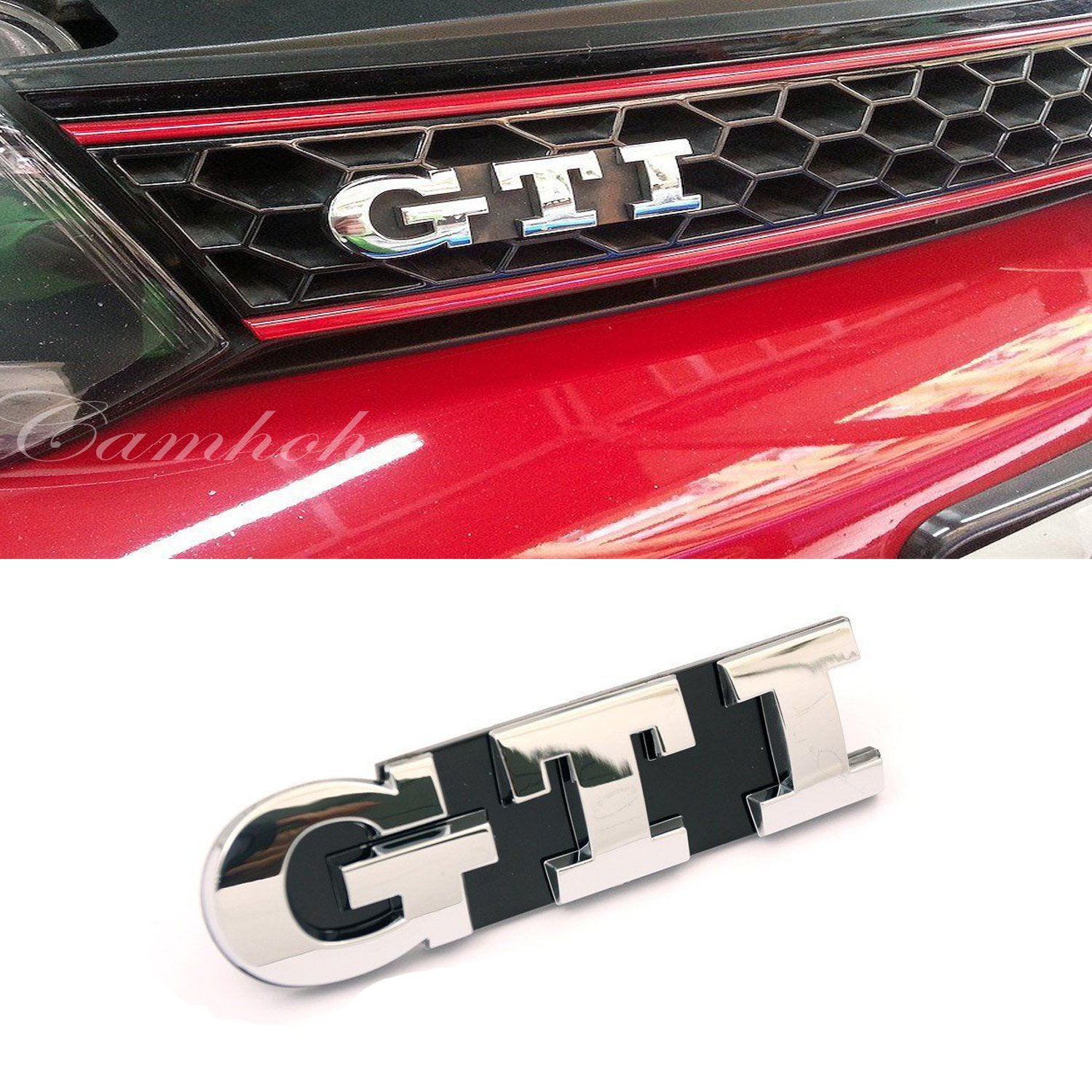 volkswagen vw golf 5 6 gti logo front grille emblem chrome. Black Bedroom Furniture Sets. Home Design Ideas