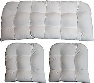 RSH DECOR 3 Piece Wicker Cushion Set - Indoor/Outdoor Wicker Loveseat Settee & 2 Matching Chair Cushions - Sunbrella Canvas White (1100)