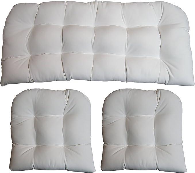 3 Piece Wicker Cushion Set Indoor Outdoor Wicker Loveseat Settee 2 Matching Chair Cushions Sunbrella Canvas White 1100 Kitchen Dining