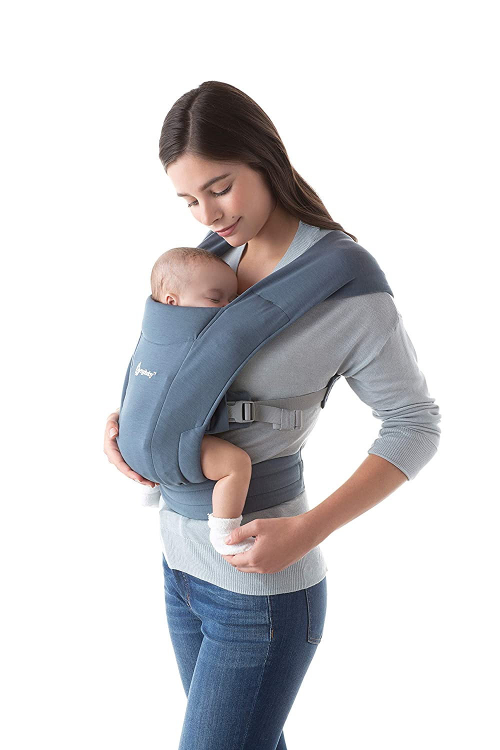 Ergobaby Embrace Baby Wrap Carrier, Infant Carrier for Newborns 7-25 Pounds, Oxford Blue