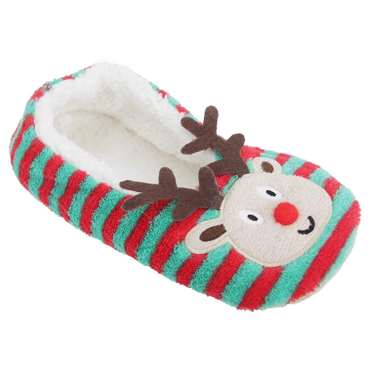 Womens//Ladies Rudolph//Santa Design Novelty Christmas Slippers