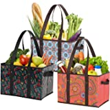 Foraineam Reusable Grocery Bags 3 Pattern Assorted Durable Heavy Duty Grocery Totes Bag Collapsible Grocery Shopping Box Bags with Reinforced Bottom