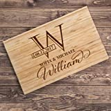 Lily's Atelier Custom Engraved Cutting Board - Wedding, Anniversary, Housewarming, Birthday, Corporate Gift and for Awards - Customizable, Personalized Date, Name, Last Name and Monogram - LACB_T2_D1