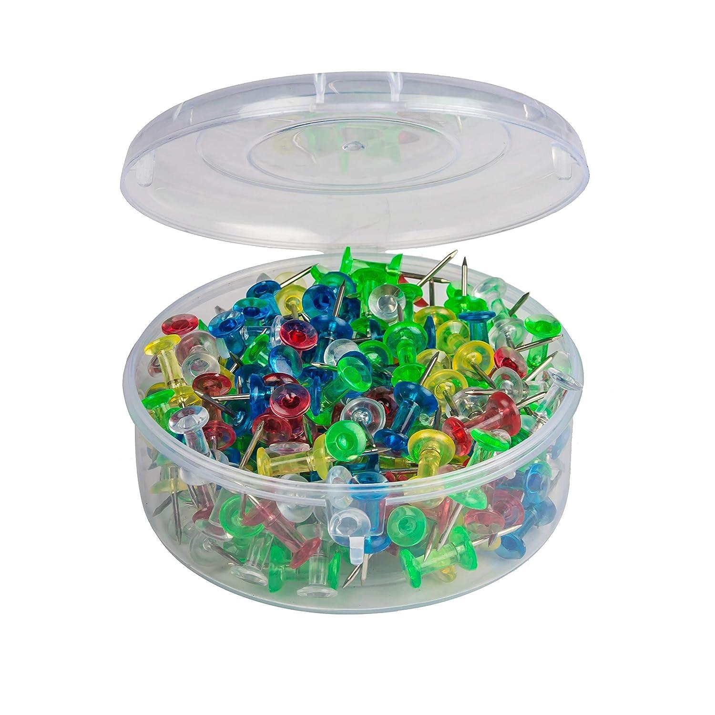 Nadel aus Stahl farbenfrohe Rei/ßzwecke 200 St/ück pro Container blau Rei/ßzwecke mit Kunststoff-Kopf von Sharry