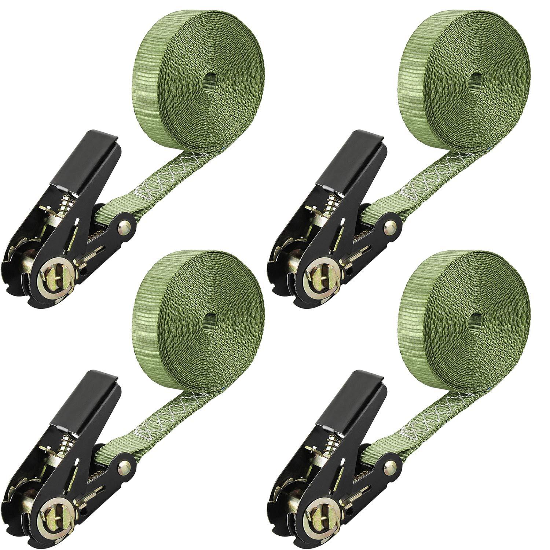 4X 25mmX6m 0,8 t green everfarel 4X Sangles darrimage /à cliquet Sangle SanglesCamion certifi/é CE T/ÜV