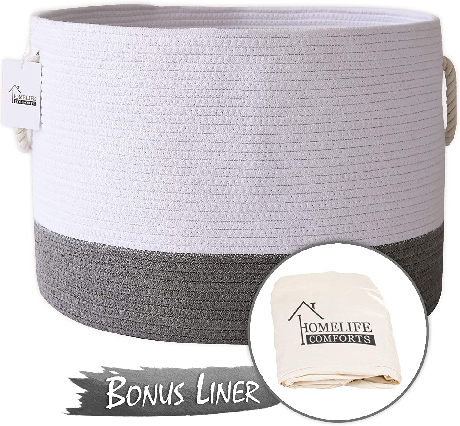 """HomeLife Comforts XXL Woven Cotton Rope Basket 