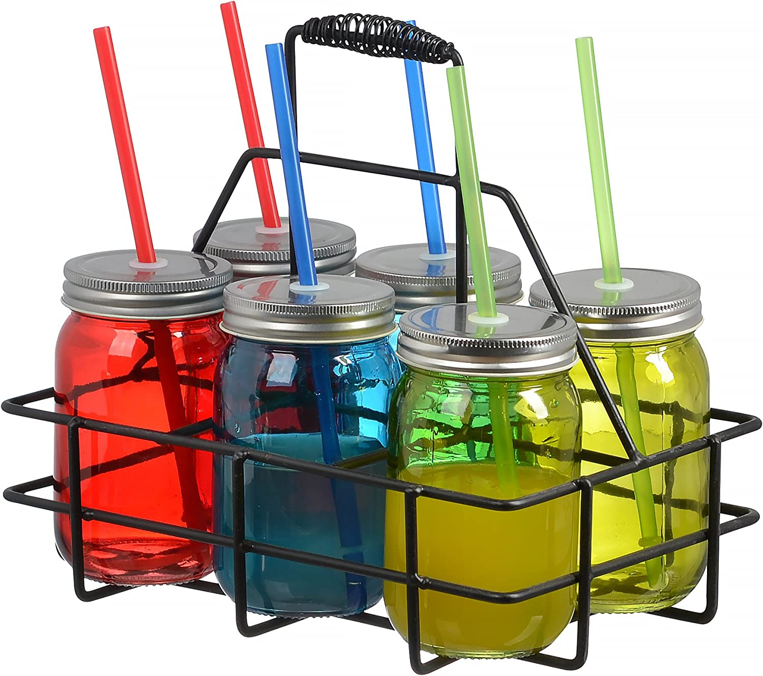 Set of 6 16oz Colored Glass Mason Jars Mugs with Handles, Lids, Drinking Straws, With Caddy Holder & Handle, Home and Party Drinkware Set, Blue Red Green Yellow Drinking Jars (6-PC Assorted Colors)