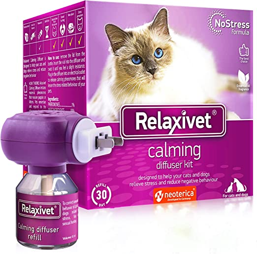 Relaxivet Natural Cat Calming Pheromone Diffuser Kit - Improved No-Stress Formula - Anti-Anxiety Treatment #1 for Cats and Dogs with a Long-Lasting Calming Effect