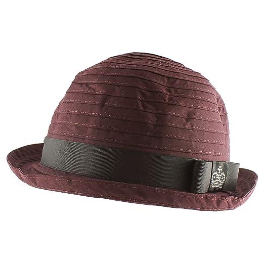 Round Top Flip Up Brim Fedora Trilby Summer Beach Sun Straw Panama Hat -  Burgundy 8c67425ca4f