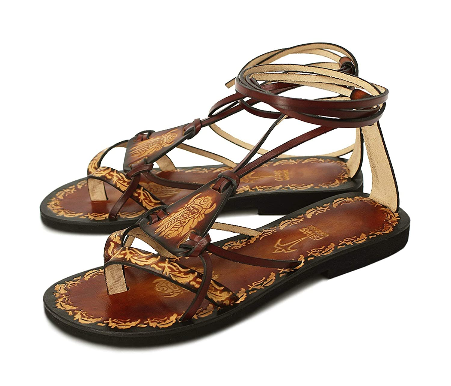 Boho Sandals, Tribal Hand painted Leather Sandals with Imprints by Calpas - FANTASY