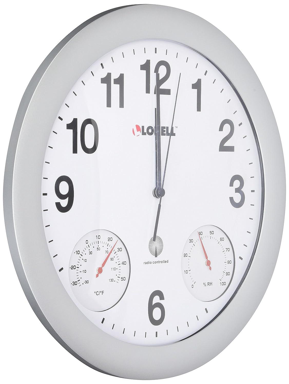 Amazon lorell analog temperaturehumidity wall clock 12 inch amazon lorell analog temperaturehumidity wall clock 12 inch silver home kitchen amipublicfo Gallery