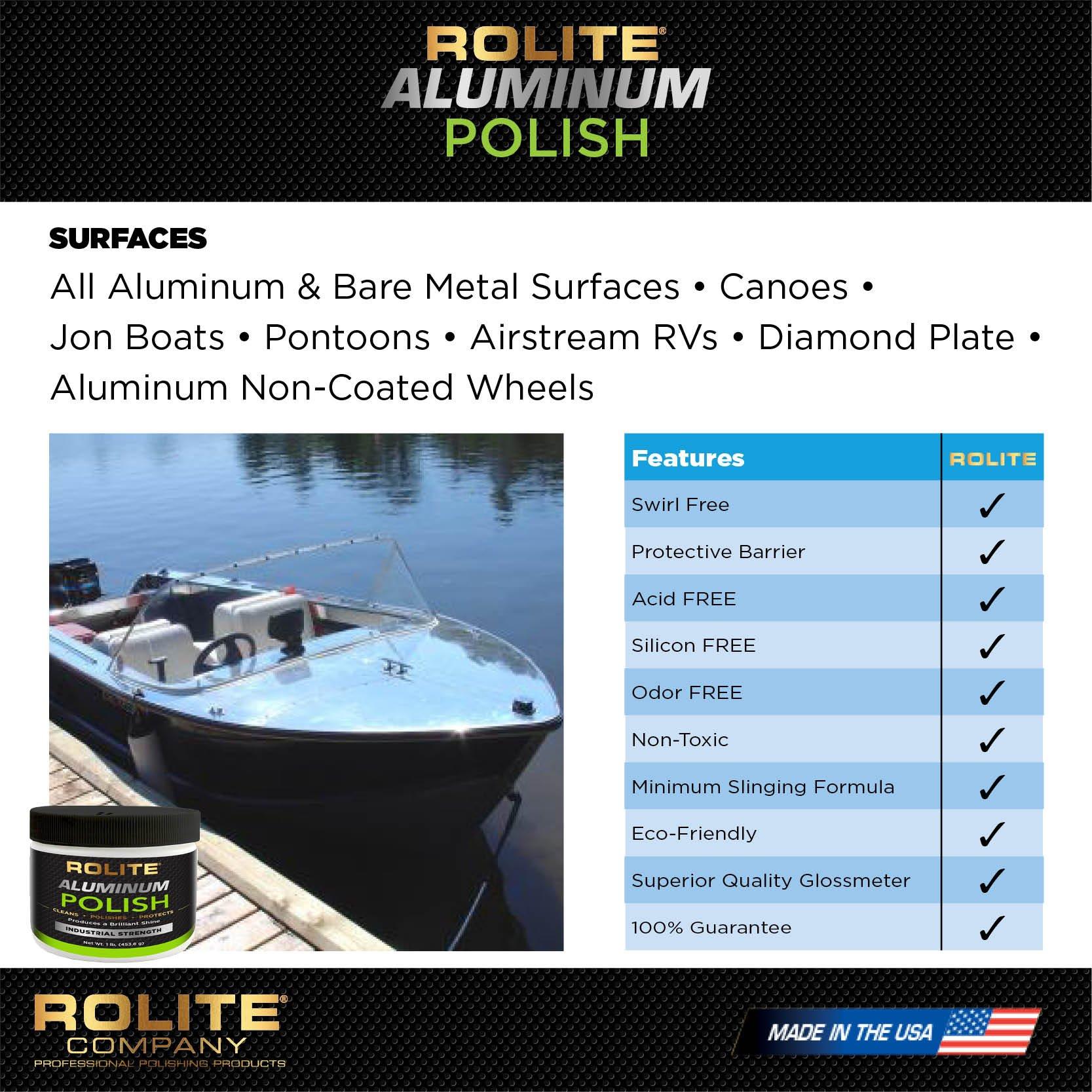 Rolite Aluminum Polish (1lb) for All Aluminum & Bare Metal Surfaces, Canoes, Jon Boats, Pontoons, Diamond Plate, Aluminum Non-Coated Wheels 6 Pack by Rolite (Image #3)