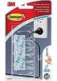 Command Clips Câble Moyens Transparents, 4Clips 5Languettes