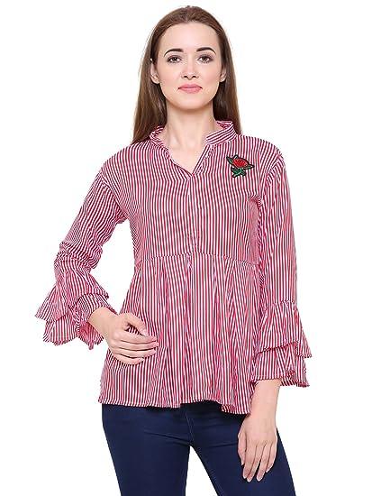 f383a18c55535 Fashion Village Bell Sleeve Stripe Top for Women s Girls  Amazon.in ...