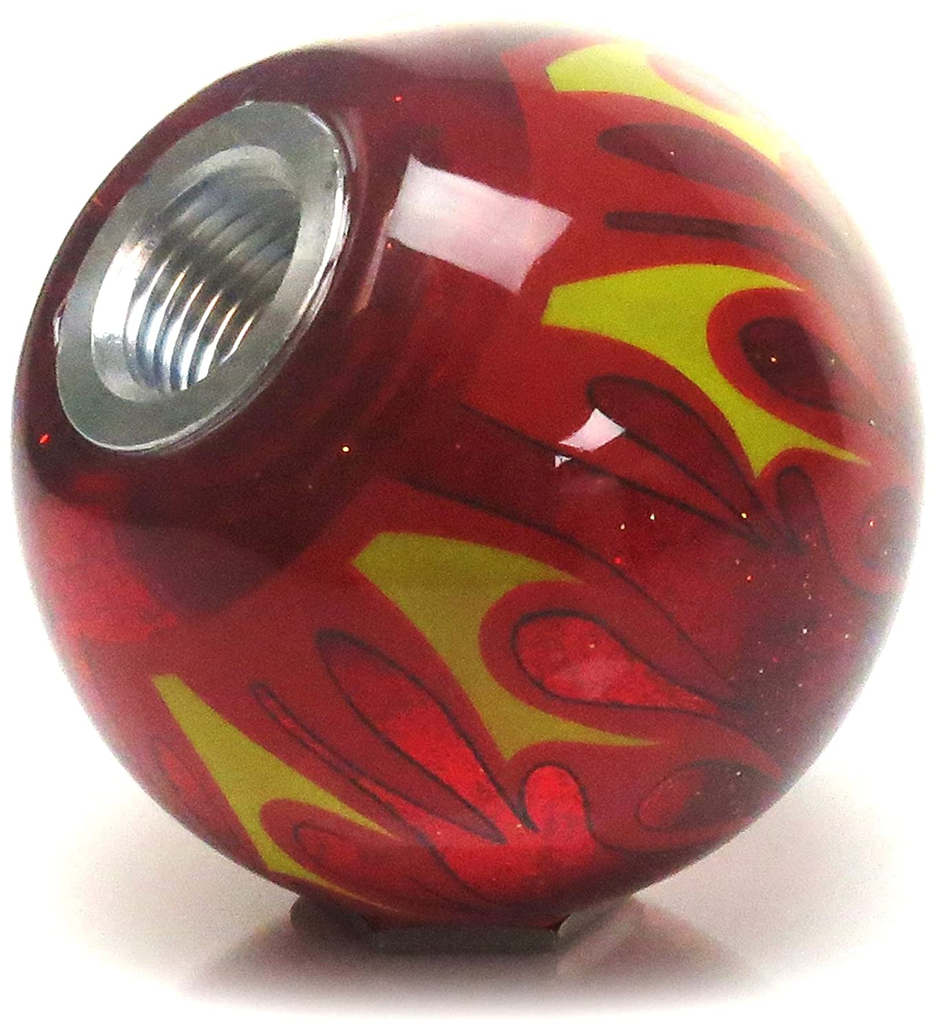 American Shifter 327760 White Built Not Bought Simple Red Flame Metal Flake Shift Knob with M16 x 1.5 Insert