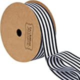 LaRibbons Black and White Striped Grosgrain Ribbon/Gift Wrap Ribbon, 1 Inch by 10 Yard/Spool